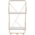 White & Gold Metal Wall Shelf With Hooks