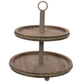 Two-Tiered Beaded Wood Tray