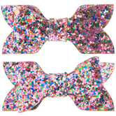 Pink Mix Glitter Bow Hair Clips