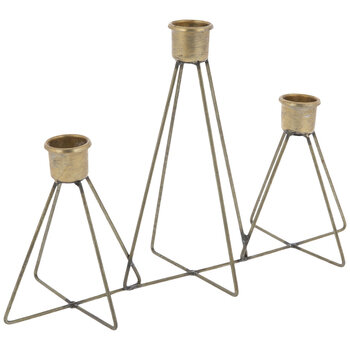 Antique Gold Geometric Metal Candle Holder