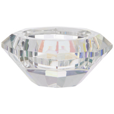 Holographic Faceted Glass Candle Holder