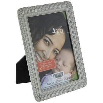 """Antique Silver Beaded Metal Frame - 4"""" x 6"""""""