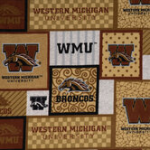 Western Michigan University Block Collegiate Fleece Fabric