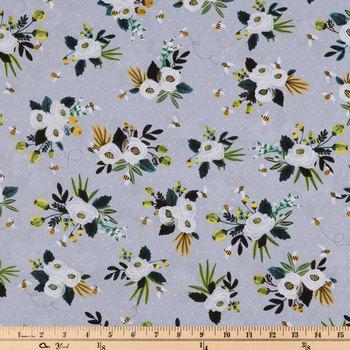 Floral On Mini Dot Cotton Calico Fabric
