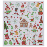 Elves & Snowmen Glitter Stickers