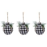 Black & White Buffalo Check Ball Ornaments