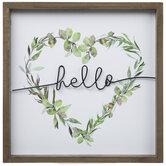 Hello Heart Wreath Wood Wall Decor