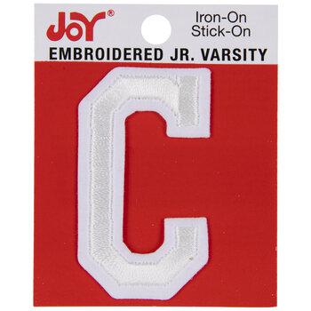 """White Junior Varsity Letter Iron-On Applique C - 2"""""""