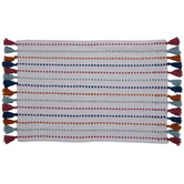 Pink, Blue & Orange Tassel Rug
