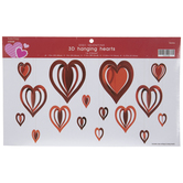 Red 3D Heart Hanging Decorations