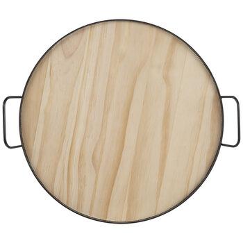 Black & Natural Round Wood Tray