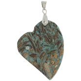 Turquoise & Brown Stone Heart Pendant