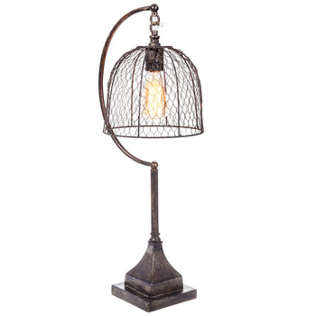 Lamp With Chicken Wire Shade