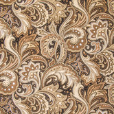 Perugina Paisley Black & Khaki Cotton Calico Fabric