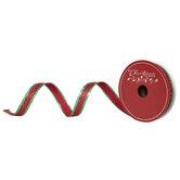 "Red Glitter & Metallic Green Striped Wired Edge Ribbon - 5/8"""