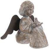 Wood Look Sitting Angel