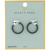 Black Cubic Zirconia Mini Hoop Earrings