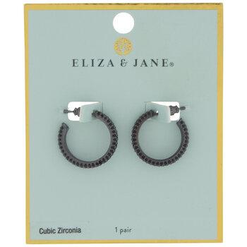 Black Cubic Zirconia Mini Hoop Earrings