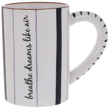 Breathe Dreams Like Air Striped Mug