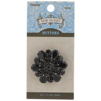 Black Floral Rhinestone Shank Button