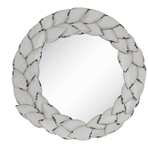 Distressed White Leaves Metal Wall Mirror