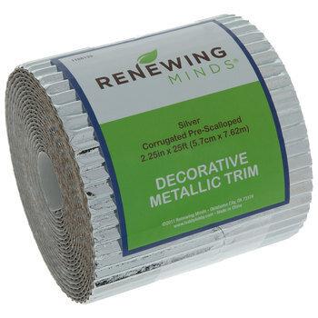 Silver Metallic Corrugated Border Roll