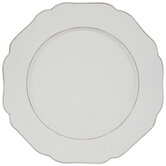 White Distressed Scallop Wood Plate Charger