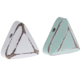 White & Turquoise Triangle Wood Beads
