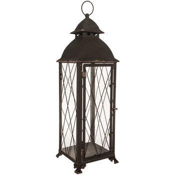 Dark Gray Rustic Metal Lantern