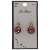 Red & Green Tree Glass Pearl Earrings