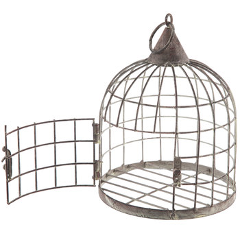 Gray Distressed Metal Bird Cage