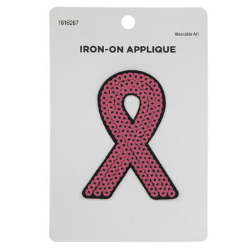 Pink Ribbon Sequin Iron-On Applique