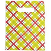 Green & Red Diagonal Plaid Zipper Bags