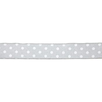"Gray & White Polka Dot Wired Edge Ribbon - 1 1/2"""