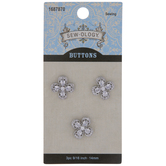 Rhinestone Flower Shank Buttons - 14mm
