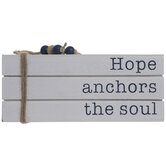 Hope Anchors The Soul Wood Stacked Books