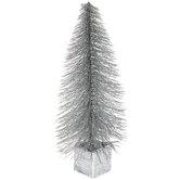 Silver Glitter Tree In Square Pot
