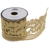 "Gold Paisley Metallic Lace Trim - 2 1/4"""