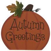 Autumn Greetings Pumpkin Wood Decor
