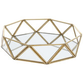 Octagon Mirrored Glass Tray