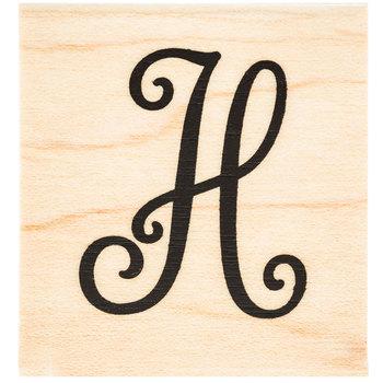 Script Letter Rubber Stamp - H