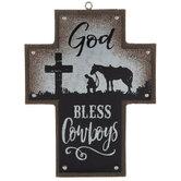 God Bless Cowboys Cross Ornament