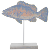 Southern Marsh Orange & Blue Fish Wood Decor