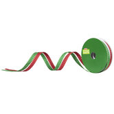 """Red & Green Stitched Edge Ribbon - 3/8"""""""