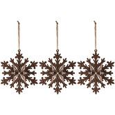 Brown & Black Snowflake Ornaments