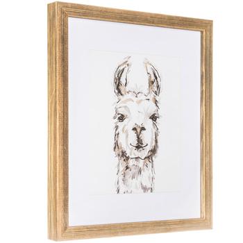 Sketched Llama Framed Wall Decor