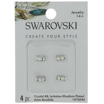 Crystal AB Swarovski Crystal F Rondelle Beads - 6mm