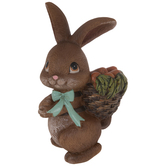 Brown Bunny With Basket Of Carrots