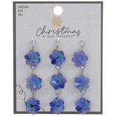 Blue Iridescent Faceted Snowflake Charms