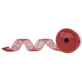 """Glitter Scroll Wired Edge Sheer Ribbon - 2 1/2"""""""